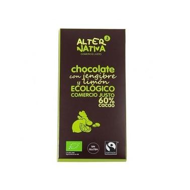 Chocolate 60% con Jengibre y Limón Bio, 80 gr.