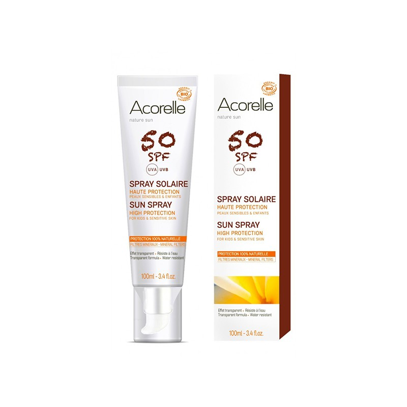 Spray Solar SPF50 BIO Acorelle, 100 ml.