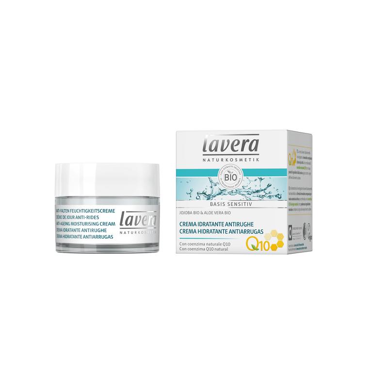 Crema de día hidratante antiedad Q10 jojoba + aloe Lavera, 50 ml.