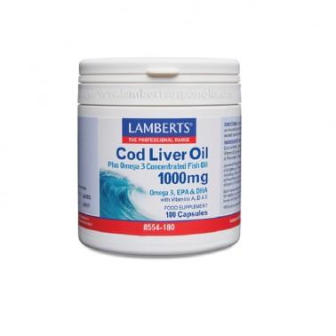 Aceite de Hígado de Bacalao 1000 mg. Lamberts, 180 cap.
