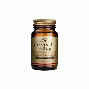 Vitamina B12 (cianocobalamina) 500 mcg. Solgar, 50 cap.