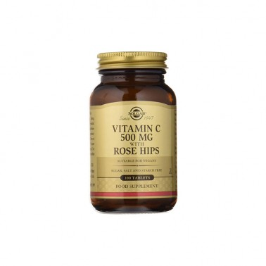 Vitamina C 500 mg. Rose Hips Solgar, 100 comp.