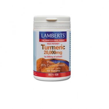 Cúrcuma 20.000mg. (95% de curcumina) Lamberts, 120 comp.