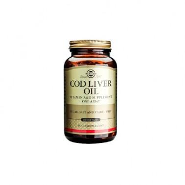 Aceite de Higado de Bacalao Solgar, 250 cap. blandas