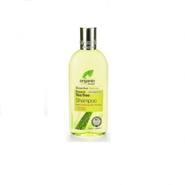 Champú árbol del te orgánico Dr. Organic, 265 ml.
