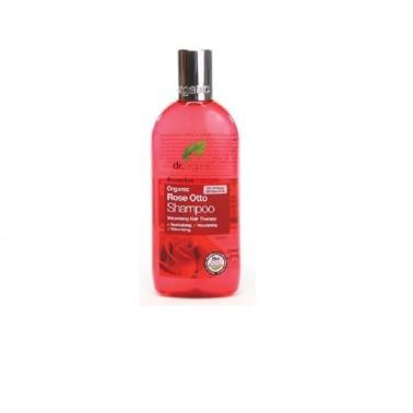 Champú rosa de damasco Dr. Organic, 265 ml.