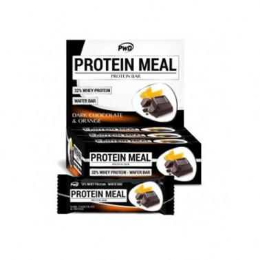 Protein Meal Chocolate Negro y Naranja PWD Nutrition, 12 barritas