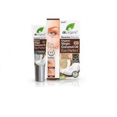 Contorno de ojos aceite de coco orgánico Dr. Organic, 15 ml.