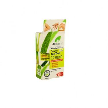 Crema antiséptica árbol del té orgánico Dr. Organic, 50 ml.