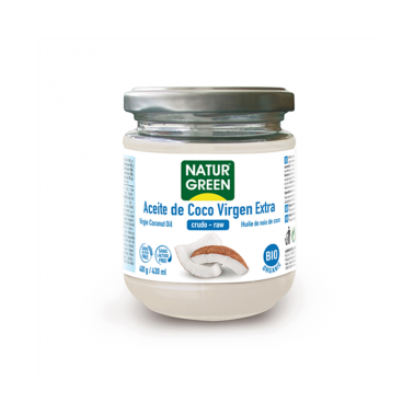 Aceite Virgen de Coco 1ª presión frío NaturGreen Bio, 400 gr.