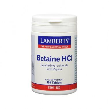 Betaina HCI 324 mg. Pepsina 5 mg. Lamberts, 180 comp.