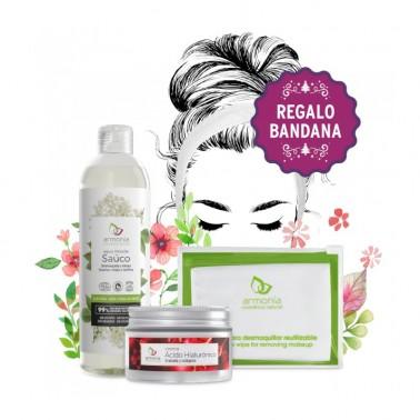 Armonía Pack Crema Acido Hialurónico + Agua Micelar + Toallita desmaquillante + Bandana
