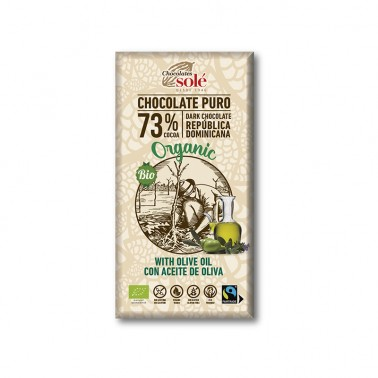 Chocolate Negro 73% con Aceite de Oliva Chocolates Solé, 100 gr.
