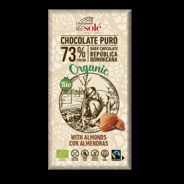 Chocolate Negro 73% con Almendras Chocolates Solé, 100 gr.