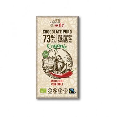 Chocolate Negro 73% con Chili Chocolates Solé, 100 gr.