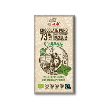 Chocolate Negro 73% con Menta Chocolates Solé, 100 gr.
