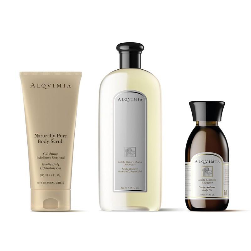 Aceite Corporal + Gel de Baño REDUCTOR + Gel Exfoliante Corporal Alqvimia