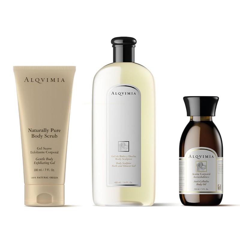 Aceite Corporal ANTICELULITIS + Gel de Baño BODY SCULPTOR + Gel Exfoliante Corporal  Alqvimia